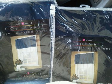 Set of 2 Colormate double tailored valance Navy 70 W x 17 L Cotton Duck   NEW