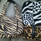 Set of 3 Zebra Leopard Print Purse Wallet Hand Bag Wallet Billfold Never Used