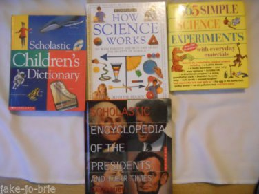 Set of 4 Science Experiments Encyclopedia Presidents Scholastic Dictionary Books