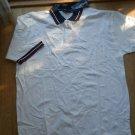 Men New Wave White Polo Shirt Size XXL Navy red white trim Cotton 2XL Casual NEW