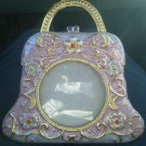 Enamel Purse Picture Frame Jeweled Pearl Handbag Purple Gold tone stand Round