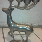 Metal Reindeer 8 Candle Holder Heavy Large Silver 13 inch Christmas Holiday Deer
