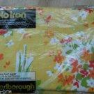 Vintage Marlborough Yellow Full Flat Sheet Gold Red Orange White Flower USA NEW
