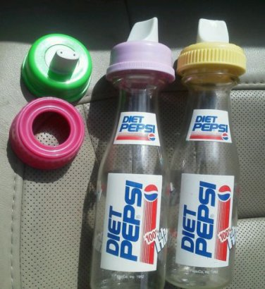 Diet Pepsi baby bottles set of 2 extra lids 1992 plastic Toddler Extra sippy Top