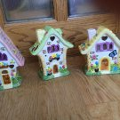 Set of 3 Ceramic House Candle Tea Light Holder Cut out Incense Colorful Easter