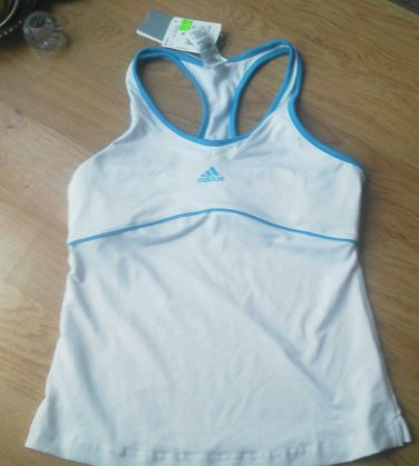 Ladies Adidas Fitness Tank Shirt Size M White Climalite Stay Dry Racer Back NEW