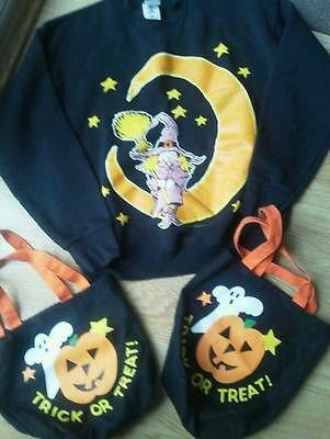 Halloween Ladies Sweatshirt Size M Black Moon Witch 2 Cloth Trick or Treat Bags