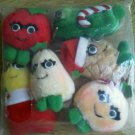 Set 6 Del Monte Yumkin Veggie Fruit Ornaments NEW Sweet Pea Tomato Peach Vintage