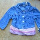 Girls Cherokee Blue Jean Shirt Size 5T 5 Top Blouse Pink Purple Velure Trim NEW