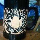 Black Cup Golden Orange faced Tiger Mug Japan hand crafted Otagiri Detailed EUC