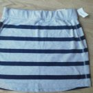 Aeropostale Stretch Skirt Short Size M Gray Navy Stripe Mini Spandex Cotton NEW