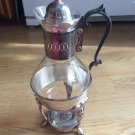 Vintage Silver Coffee Tea Pot Glass with Stand burner Lid Scrolled Handle Warmer