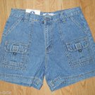 Ladies Arizona jean Shorts Size 9 Light Stone Blue 6 pockets Cargo Hiking NEW