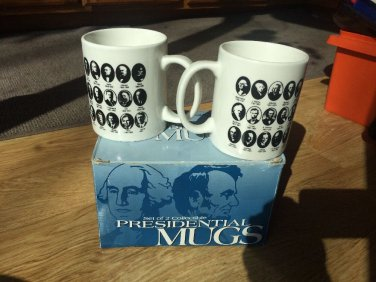 Set Of 2 Presidential Mugs Picture President Years in Office Collectible Clinton