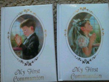 Set of 7 MY FIRST COMMUNION Boy Girl Roman Padded White 1st Personalize NEW Lot