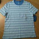Ladies Karen Scott Sport Shirt Top blue Stripe Cotton Size PM Scoop Neck NEW
