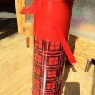 Aladdin Thermos Pump a Drink Red Plaid Vintage Quart Lunch Coffee Lemonade EUC
