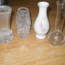 Set of 4 Small Bud Vases Cut Pressed Glass Small Happy Anniversary Star of David