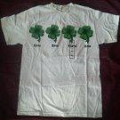 Ladies White T Shirt Size M St Patricks Day SS Paddy Top Progressive Blurry NEW
