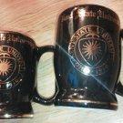 Set of 2 Kent State University Ohio 1910 Mug W C Bunting Black Gold trim EUC