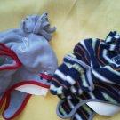 Set 2 Baby Boy Hat Gloves Kohls Gray Fire truck Blue Stripe Velcro Size 0-6M NEW