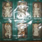 Set 12 ANGEL FIGURINE Grandeur Noel Ornaments Gold Trim Violin Drummer Accordian