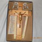 Vintage Last Rites Sick Call Crucifix Blond Wood Cross Candles Glass Gold Jesus