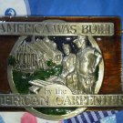 Men America was Built Carpenter belt buckle design Beige brown Western American