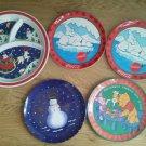 Set 5 Melmac Children Plate Dinner Christmas Santa Polar Bear Pooh Snowman Lot