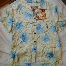 Ladies Caribbean Joe Shirt Blouse Blue flowers Island Breeze Guache Lily S NEW