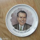 Colorful Richard M Nixon 37th President Ceramic Plate Gold Ring Trim Collector
