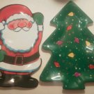 Set of 2 Melamine Santa Christmas Tree Plates Melmac Large Serving Tray Platter