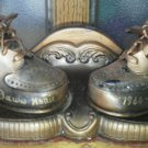 Set of Bronze New baby shoes plaque Extra Real Worn Shoe Old Vintage 1960 Holder