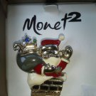 Monet 2 Santa Climbing down Chimney Pin Crystal stone Colorful Packages Gold NEW