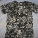 Ladies Beaded Cotton Shirt iam India T Top White Black Pearl Beads Small S NEW