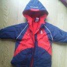 Boy Nike Size 18 mos Long Stadium Jacket Coat Navy Blue Red Trim Thick Warm EUC