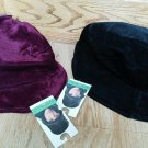 Set of 2 Ladies Velveteen Hat Soft Lined Burgundy Black Bucket Winter Padded NEW