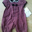 Girl Plaid Outfit Velvet One Piece Romper 3-6 months Red Checked Black trim NEW