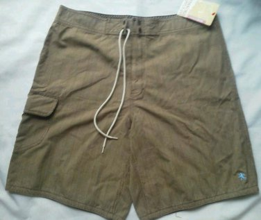 Men Mossimo Board Shorts Size 36 Brown Plaid Swim Trunks Bathing Suit Cotton NEW