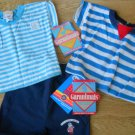 Vintage 3 Pc Garanimals Outfit Boy Girl Striped Shirt 9-24 Mos Shorts blue NEW