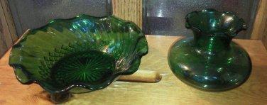 Set of 2 Green Glass Bowl Vase Ruffled Top Swirl Dish Anchor Hocking Lot Vintage
