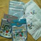 Set of Baby Boy Bibs Burp Cloths Diapers Love Grandma Grandpa Sports Photo Book
