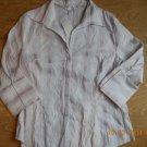Ladies H&M Cotton Blend Button Up Blouse Light pink Stripe Size 16 Top Shirt NEW