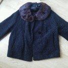 Ladies Fur Collar Car Coat Vintage Brocade Pattern Black Detachable Lined EUC