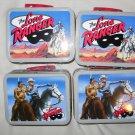 Set of 4 THE LONE RANGER Cheerios 2001 Hi-Yo silver Horse Indian Metal Lunch Box