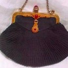 Unusual Black Purse w/Brass Enameled Jeweled Frame