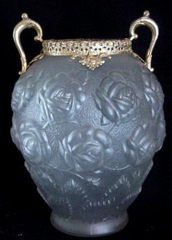 Beautiful Old Czech Glass Vase w/Embossed Roses and Brass Filigree