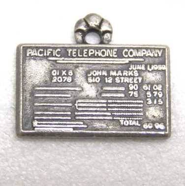 Sterling Silver Bell Telephone Service Award Charm