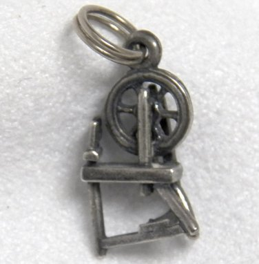 Old Sterling Silver Charm of a Spinning Wheel