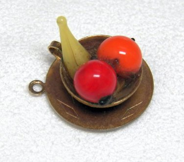 Vintage Brass and Glass Fruit Bowl Charm